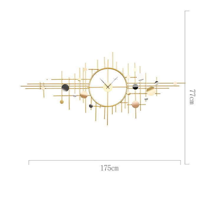 Đồng hồ phù điêu kim loại  - Trang trí phòng khách ( 175x77cm)