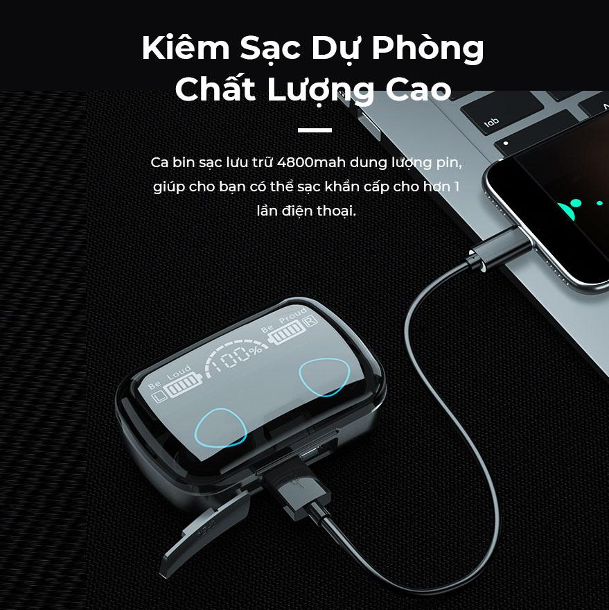 Tai nghe Bluetooth M10 Điều Khiển Cảm Ứng, Có Đèn LED, Thiết Kế Màu Đen Piano Sang Trọng, Nghe Nhạc, Chơi Game Cực Hay - Hàng Chính Hãng