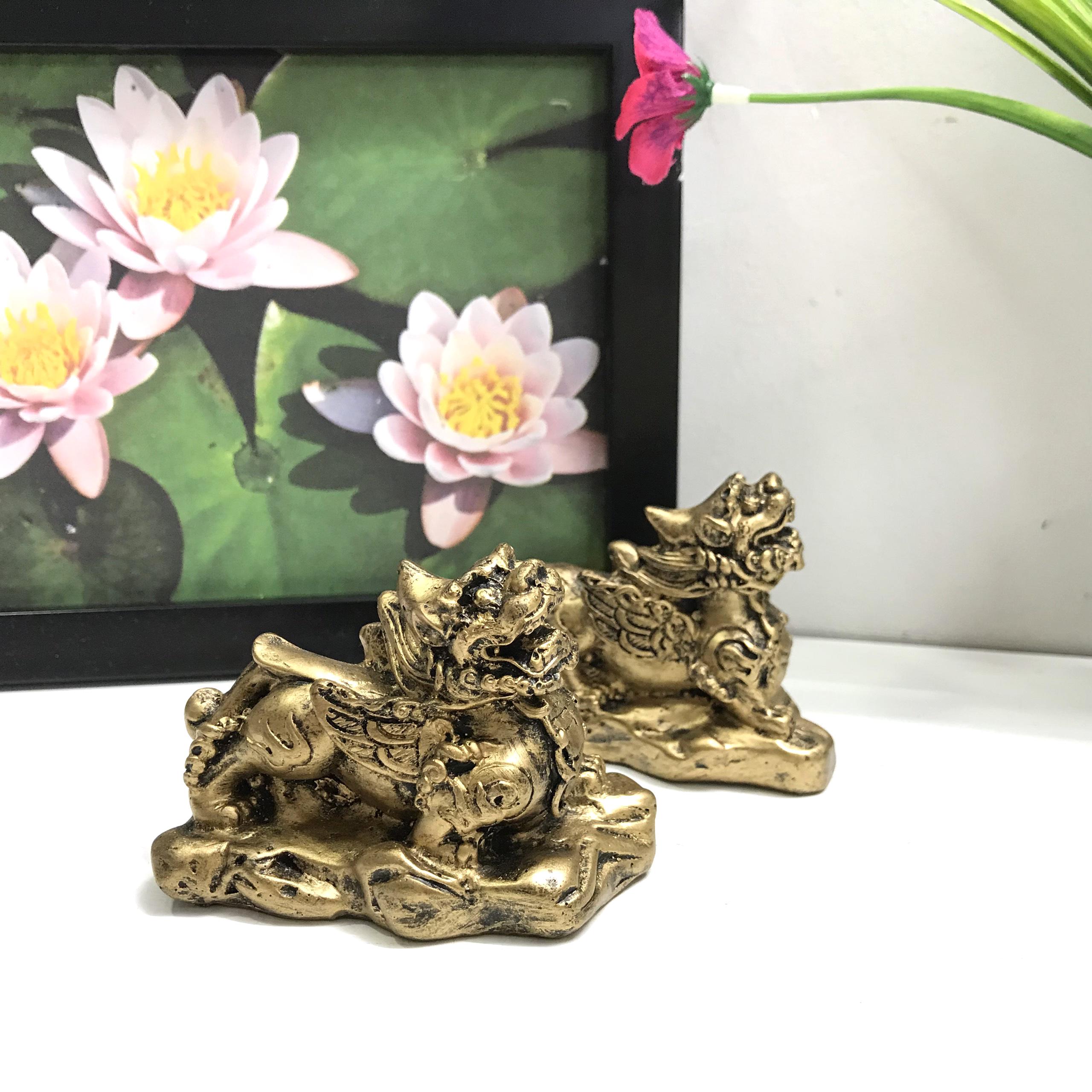 Cặp Tượng Đá Tỳ Hưu Phong Thủy - Màu Nhũ Vàng - Size Nhỏ