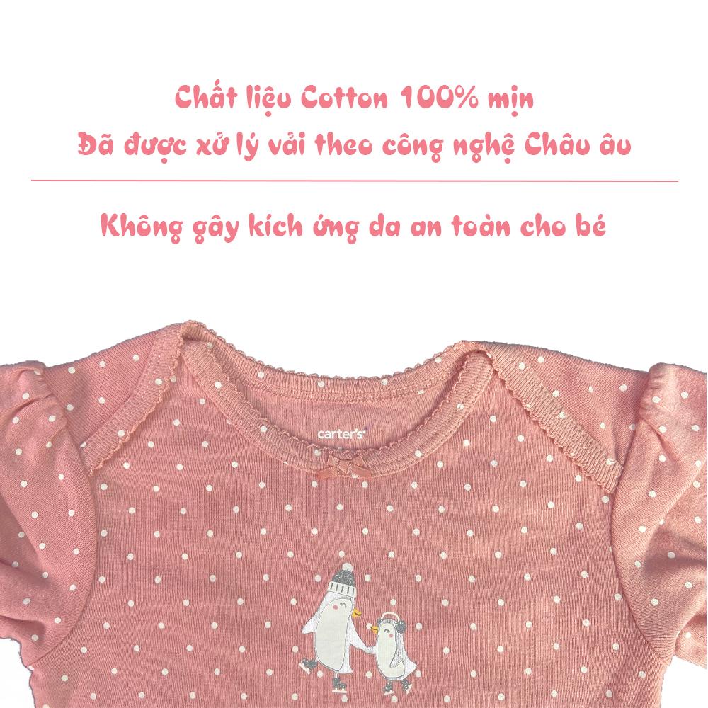 Random  mẫu Set bodysuit, bodychip Carter's cho bé sơ sinh, bé trai và bé gái dài tay cotton dành cho bé từ 12-18 tháng phân phối babyhop( 5 bộ 1 set ) - hàng chính hãng