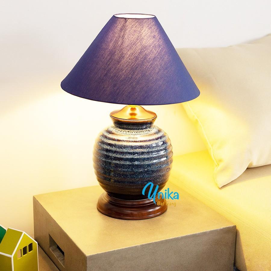 Đèn ngủ gốm vân ốc xoắn men xanh hoả biến cao cấp - Đèn Ngủ Gốm Sứ Cao cấp