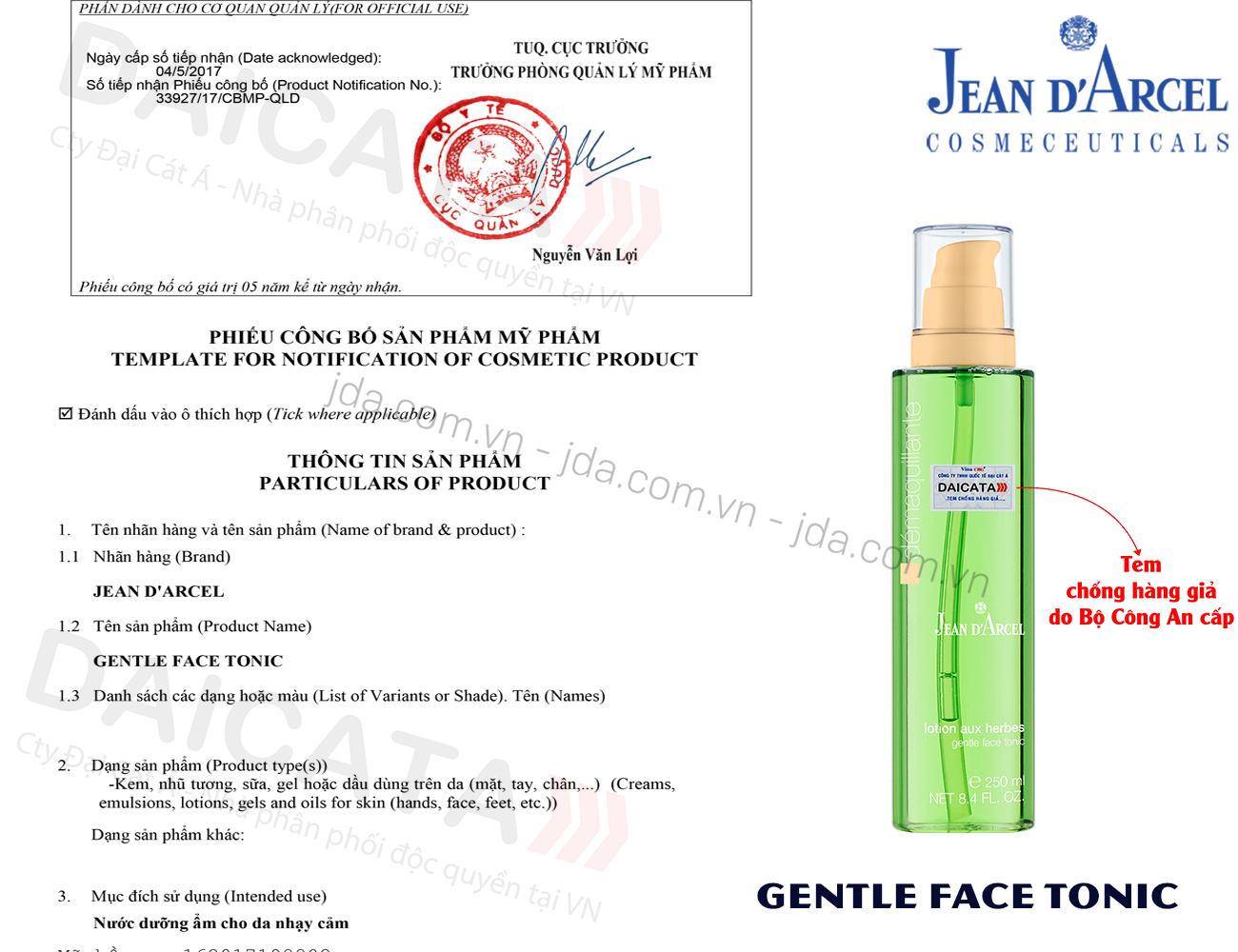 Nước hoa hồng cho da khô và da nhạy cảm Jean D'Arcel