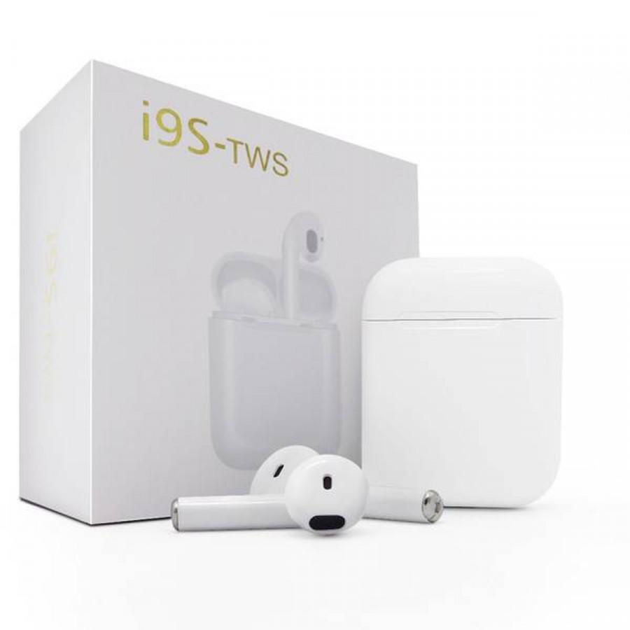 Tai nghe 2 tai Bluetooth không dây i9s chính hãng cho IPhone, Android + Tặng móc dán siêu dính