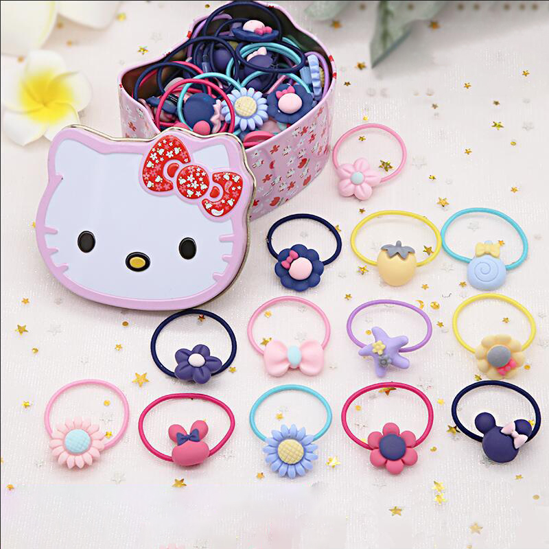 Bộ 40 dây cột tóc dễ thương đựng trong hộp thiếc mèo kitty cho bé gái-One size-Nhiều màu
