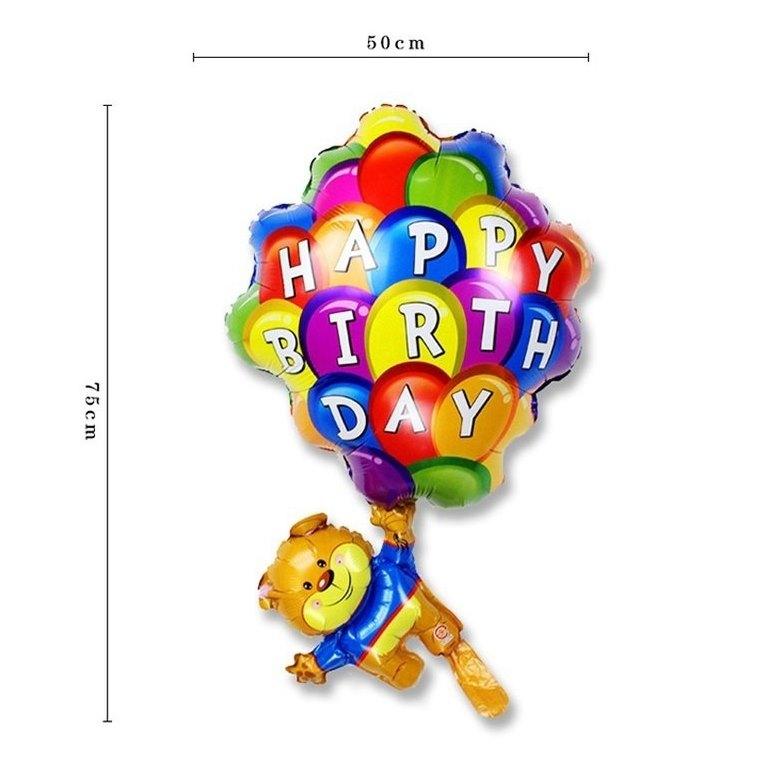 Gấu Happy birthday bong bóng bay