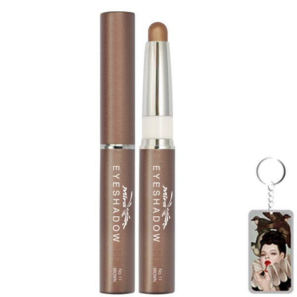 Bút sáp kẻ mắt nhiều màu nhũ bạc Mira Eyeshadow Hàn Quốc 1.5g No.11 Màu nâu tặng kèm móc khoá