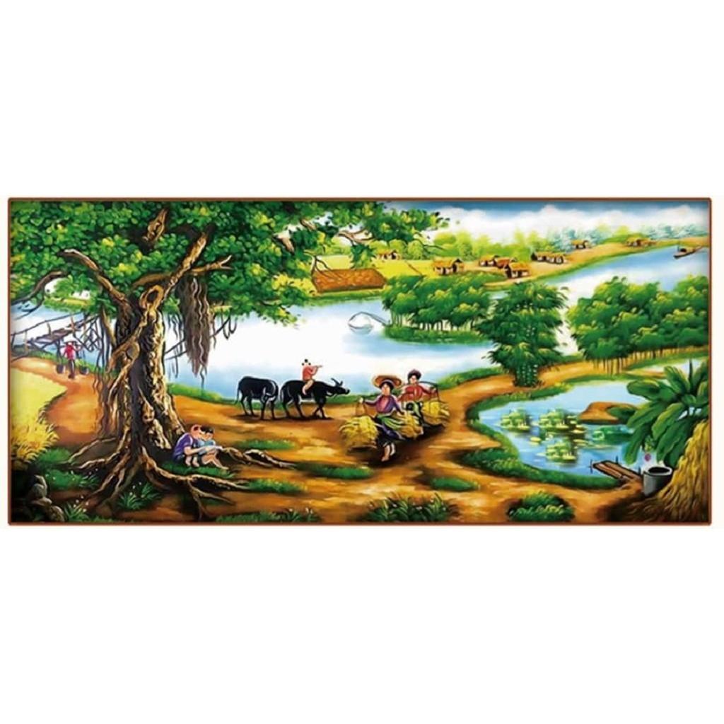Tranh thêu chữ thập CÂY ĐA ĐẦU LÀNG 124x62cm_ tự thêu