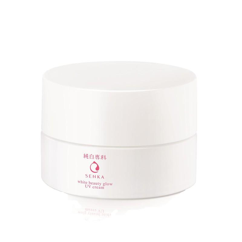 Kem dưỡng trắng da ban ngày/ban đêm Senka White Beauty Glow UV/Gel Cream tặng mặt nạ giấy nén Miniso