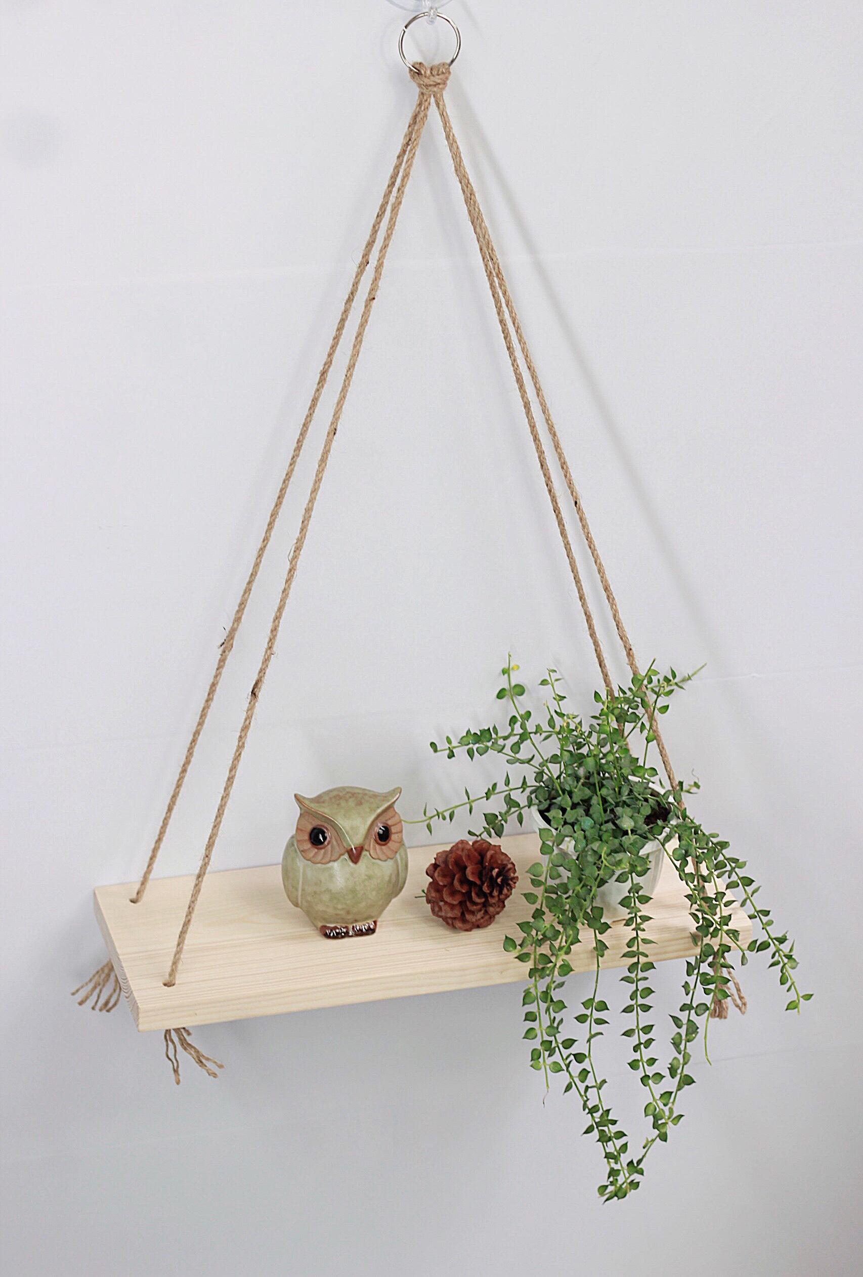 Kệ gỗ treo tường trang trí đa năng treo bằng dây thừng - Kích thước 40x14cm
