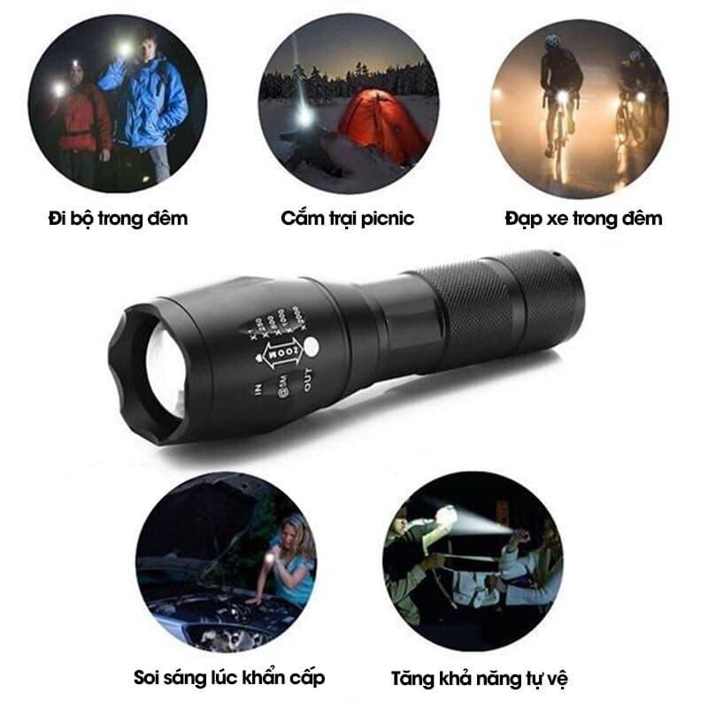 Đèn pin bỏ túi siêu sáng chống nước kèm bộ pin sạc Ultra V (Tặng hộp đựng màu ngẫu nhiên)