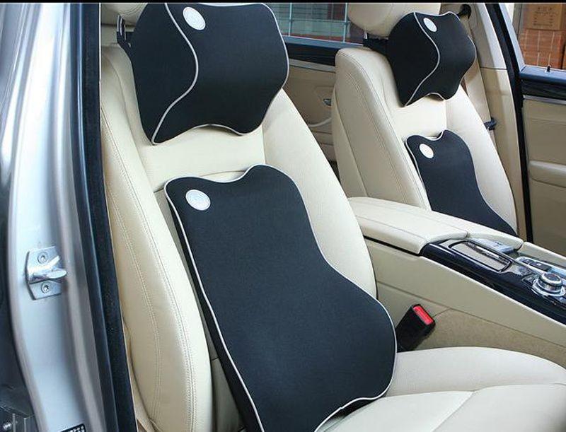 Bộ gối tựa đầu và tựa lưng xe hơi, xe ô tô V2 chất liệu cao su non cao cấp màu đen viền trắng