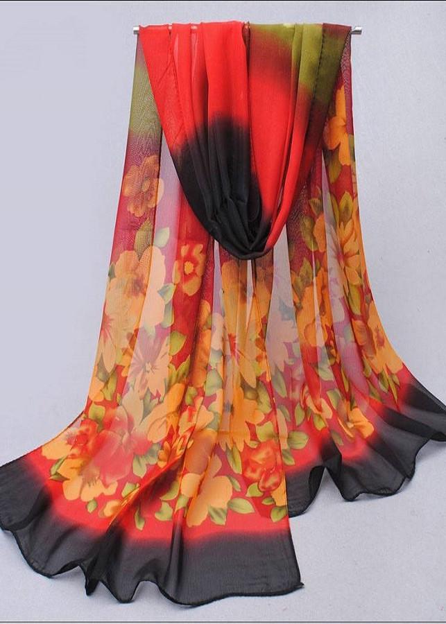 Khăn Choàng Cổ Voan Họa Tiết Hoa Nhí - Đỏ Đỏ chân đen