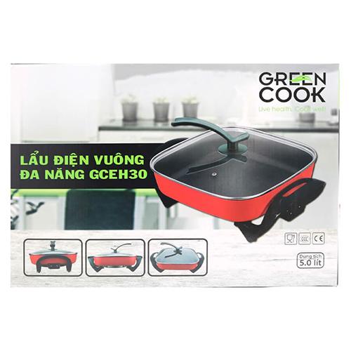 Nồi Lẩu Điện Đa Năng GreenCook GCEH30 Chống Dính Dung Tích 5L  Với Nhiều Chức Năng Nấu Nướng Chiên Xào-Hàng Chính Hãng