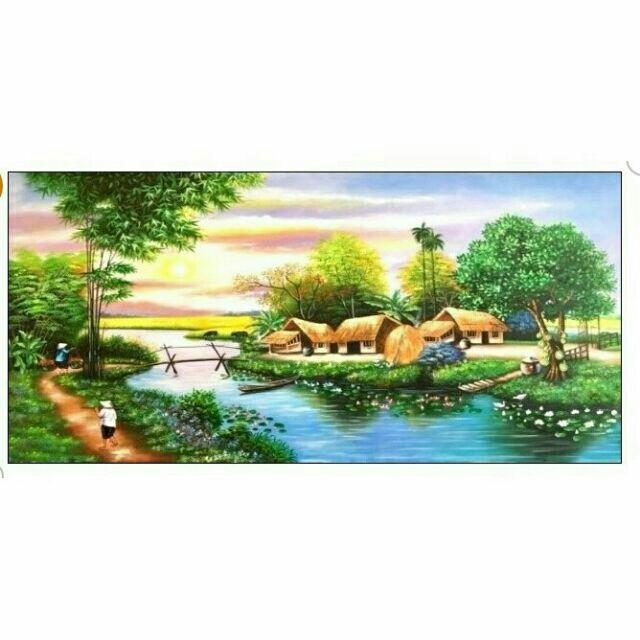 Tranh đính đá LÀNG QUÊ YÊN BÌNH  (90×52cm ) LV