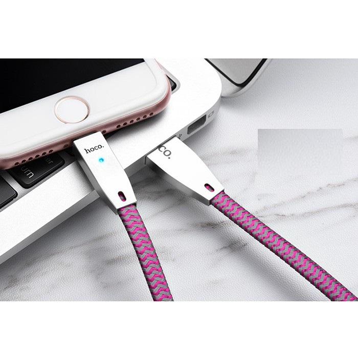 Dây Cáp Sạc Tự Ngắt Khi Pin Đầy Cho IPhone - IPad - Hoco U11 (1M2) Giao màu ngẫu nhiên - Hàng Chính Hãng