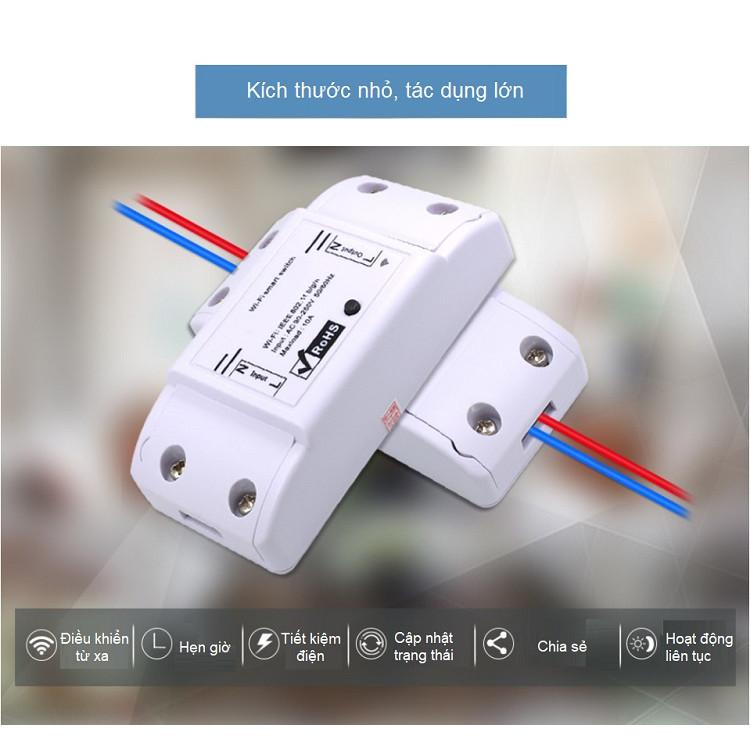 Công tắc bật tắt thông minh điều khiển từ xa wifi cao cấp 10A qua ứng dụng trên điện thoại ( Tặng kèm 03 nút kẹp cao su giữ dây điện cố định ngẫu nhiên )