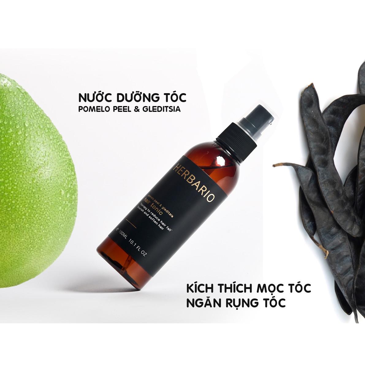 Nước dưỡng tóc Vỏ Bưởi & Bồ Kết Herbario 100ml (pomelo peel & gleditsia hair tonic) giúp giảm rụng tóc kích thích mọc tóc nhanh