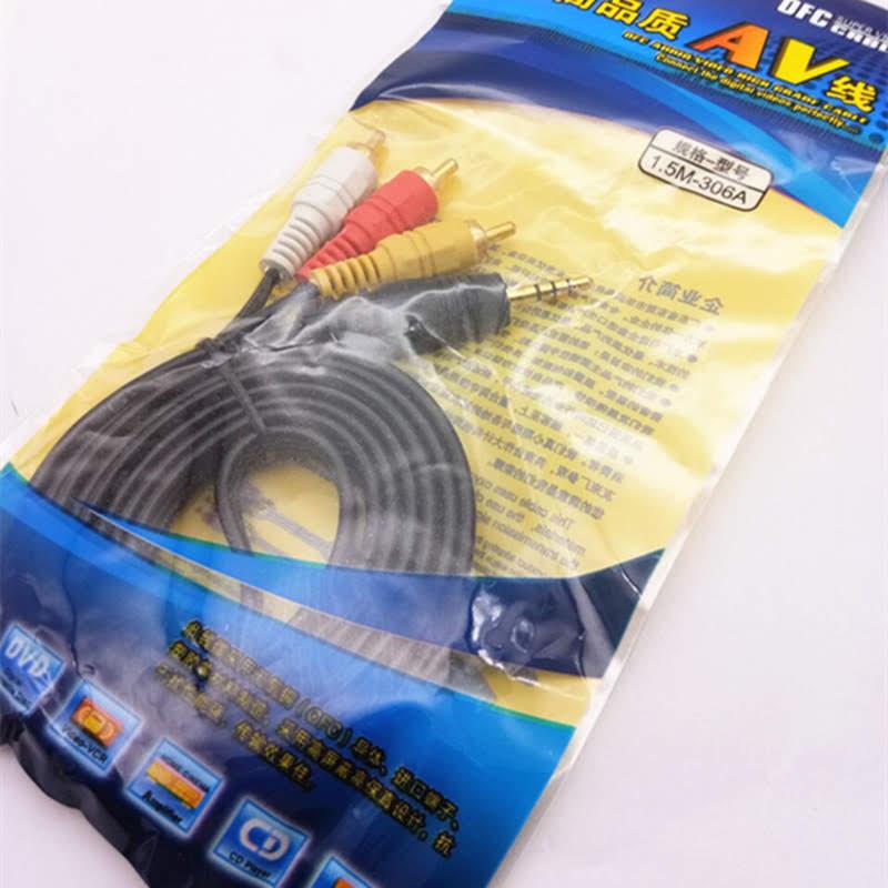 Cáp AV 3.5mm ra 3 đầu bông sen (Cáp loại 1, cáp to, 1.5m)