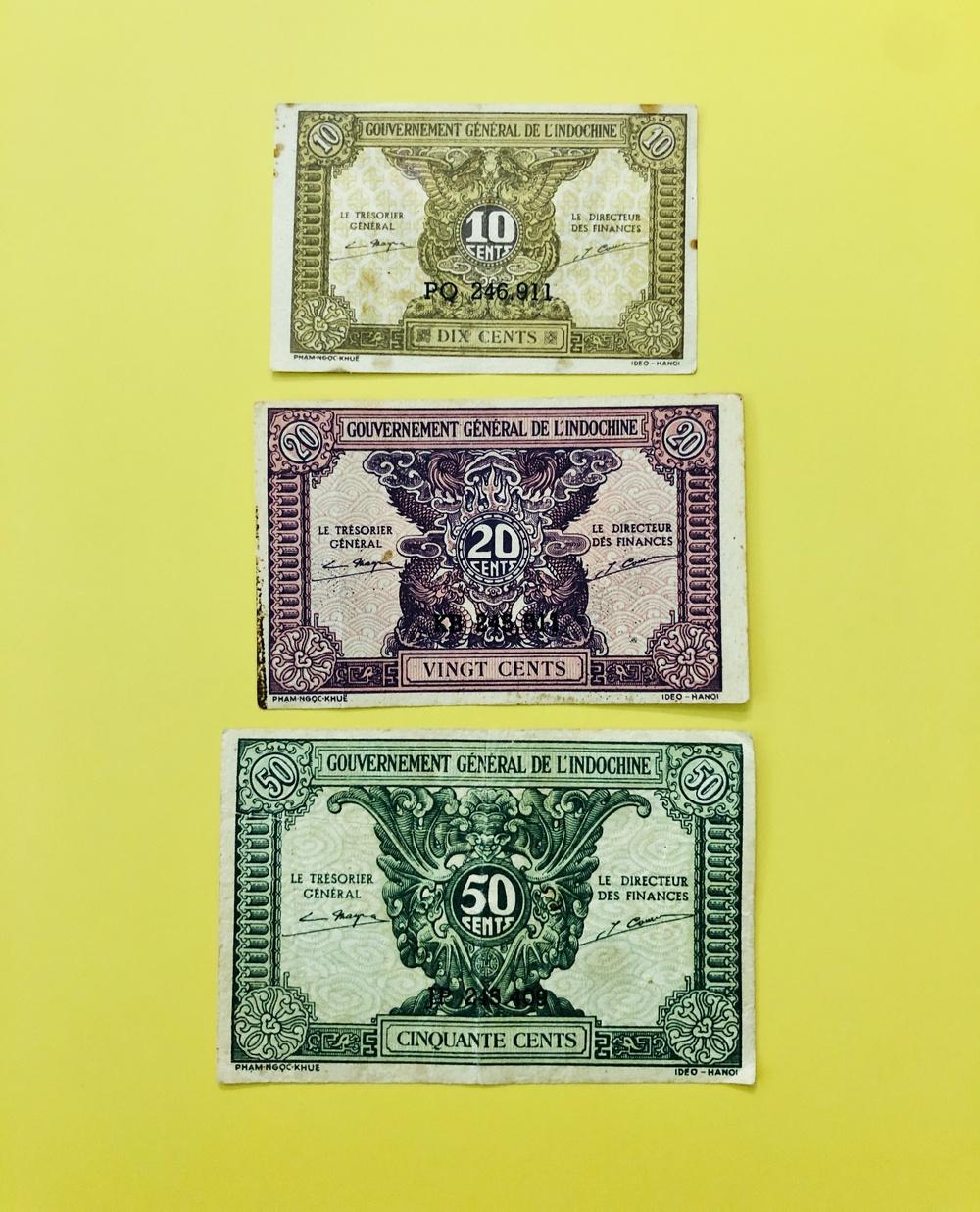03 Tờ tiền xưa cổ 1 hào 2 hào 5 hào thời Pháp sưu tầm tiền xưa - kèm bao lì xì