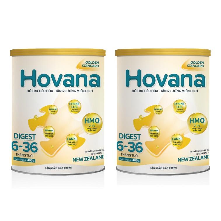 Bộ 2 Lon Sữa Bột Hovana Digest 400gr hỗ trợ tiêu hóa, tăng cường miễn dịch, tăng cân tự nhiên cho bé từ 6 - 36 tháng