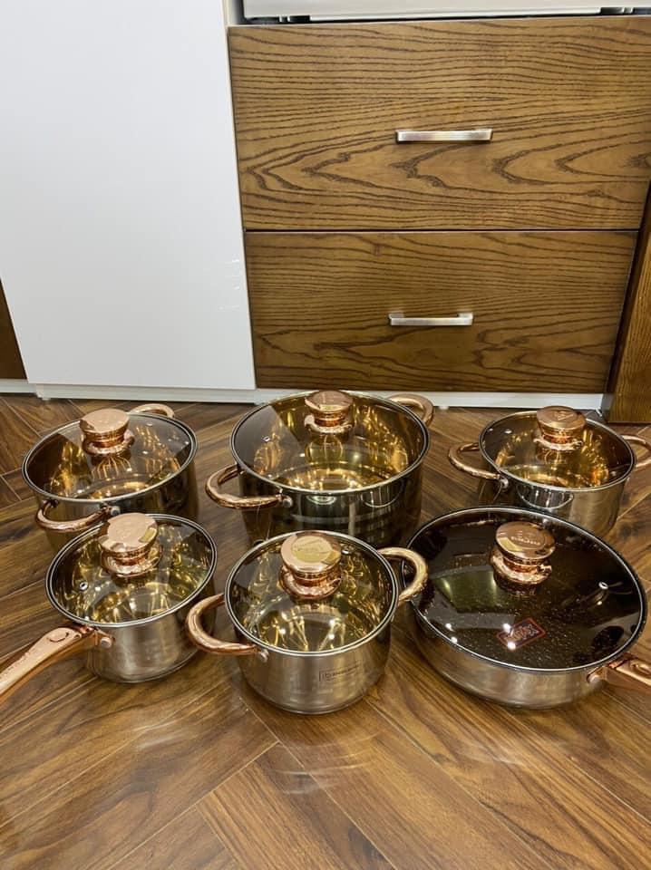 Bộ nồi engelberg 6 món 12 chi tiết Đáy nồi 5 lớp -Dùng được cho tất cả các  loại bếp - Bộ nồi Thương hiệu OEM | SieuThiChoLon.com