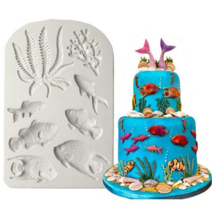 Khuôn silicon làm bánh, rau câu cá chép, san hô, rong biển