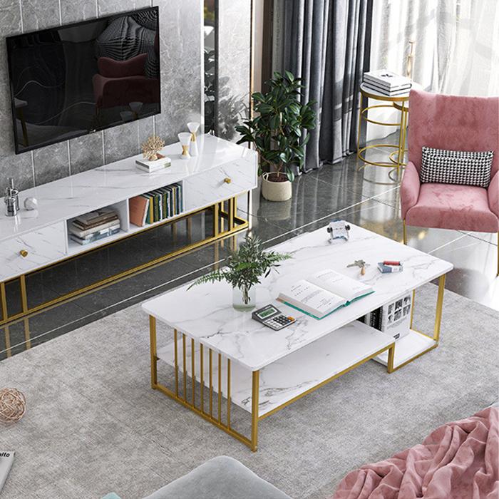 Bàn trà mặt gỗ vân đá 2 tầng 120cm E5213 - Bàn phòng khách