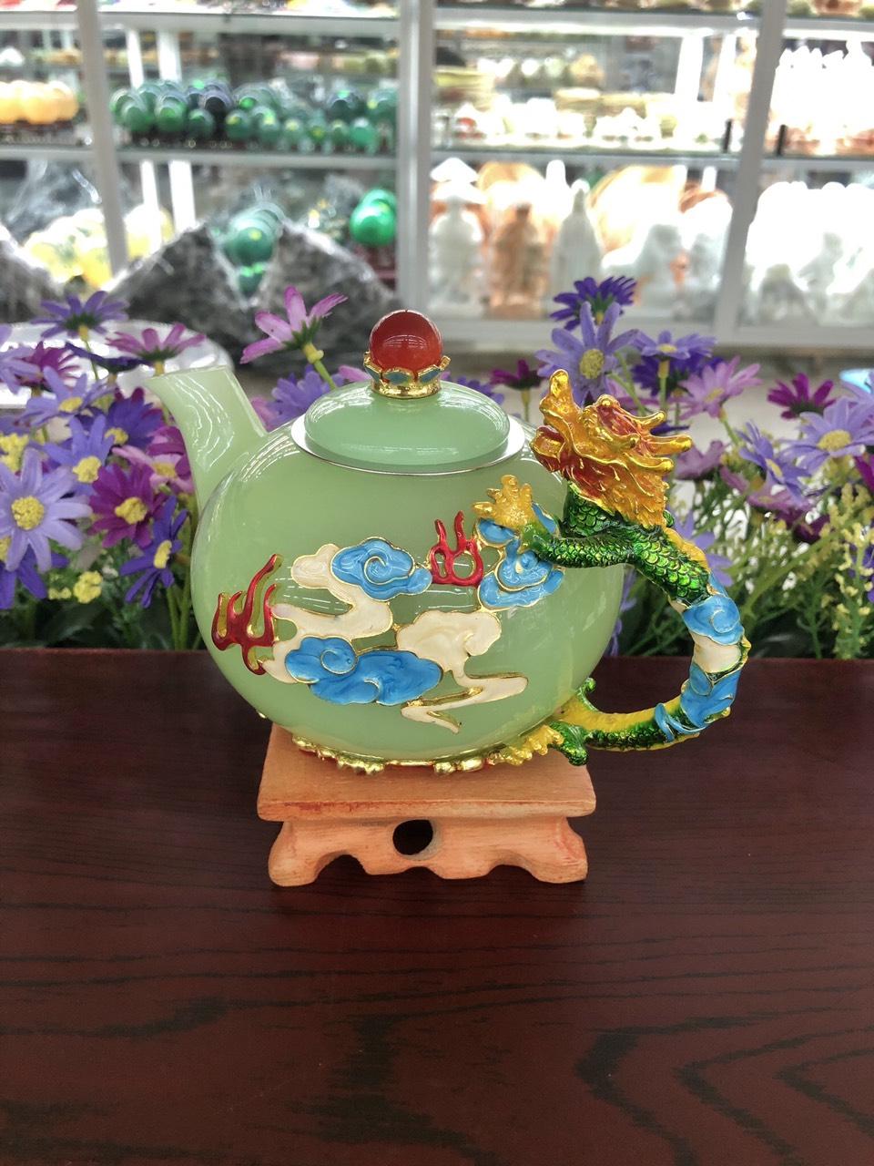 Bộ ấm trà chạm rồng với ly chạm chữ đá ngọc cẩm thạch xanh
