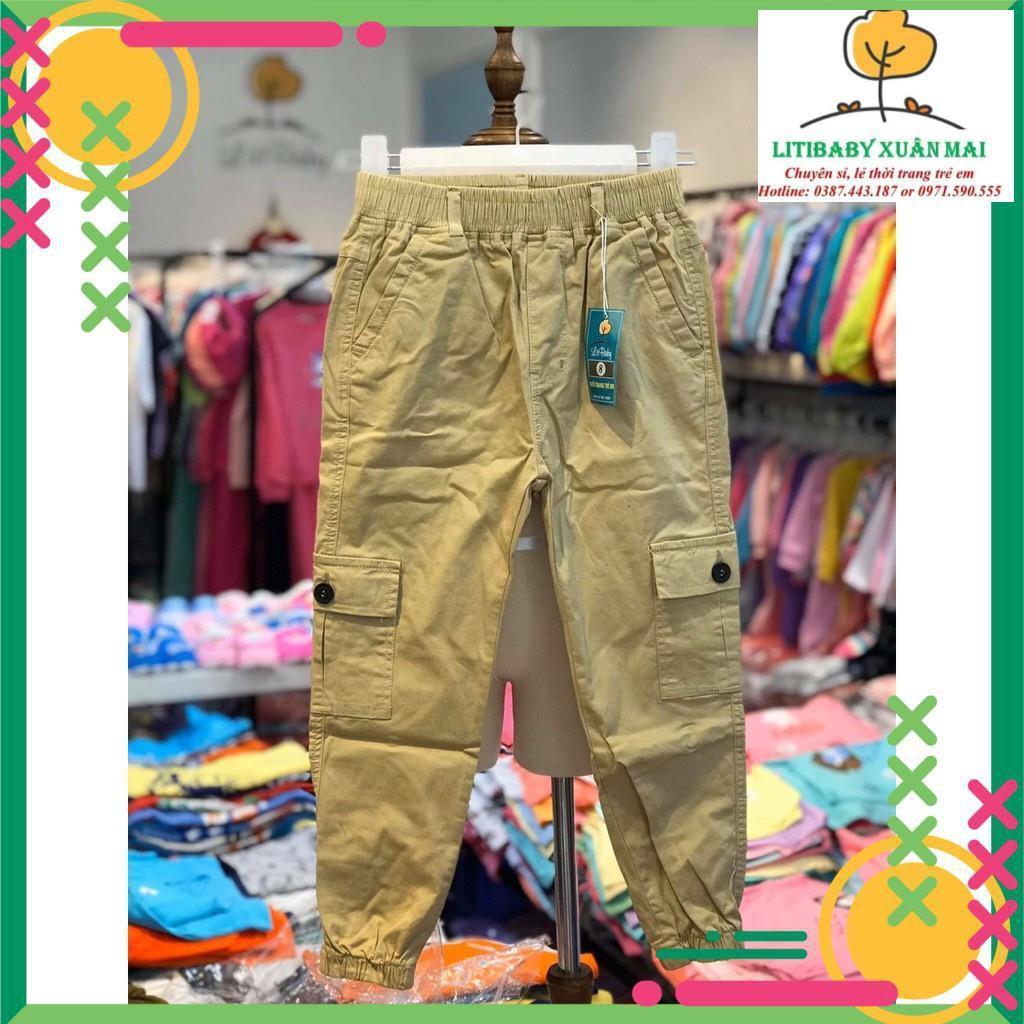 Thu đông 2020: Quần kaki bé trai túi hộp thương hiệu Litibaby size  8-14, dành cho bạn từ 24 đến 40 kg
