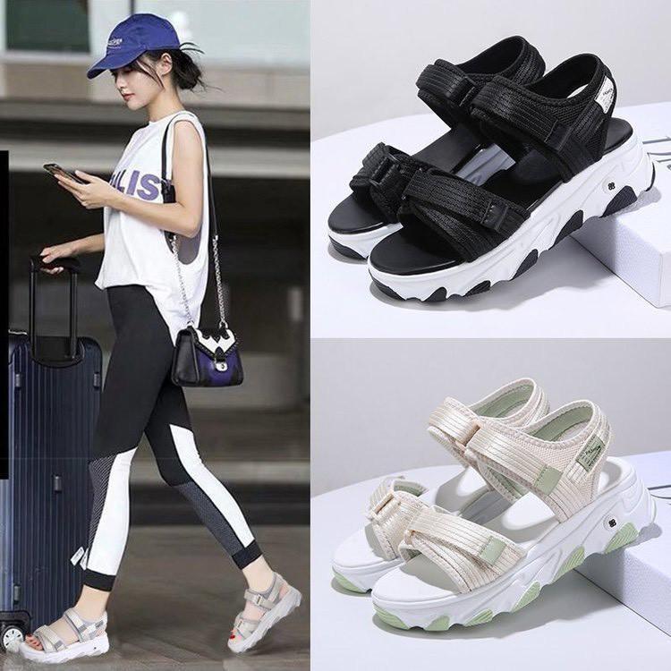 (3 Màu Video) Sandal Nữ 2 Quai Đế Màu 4cm , Dây Dù Cực Bền, Hot Trend Bán Chạy 2020