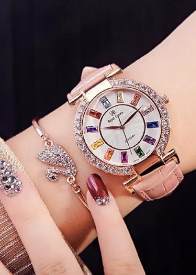 Đồng hồ nữ chính hãng  Royal Crown 4604 - dây da hồng