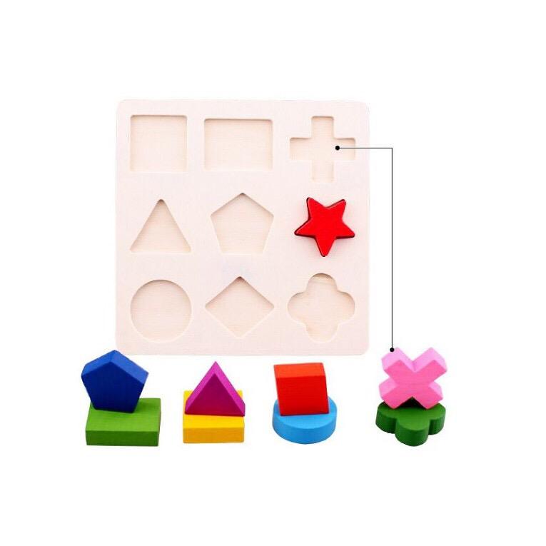 Đồ chơi gỗ giáo cụ Montessori combo 3 bảng lắp ghép hình khôi - TotdepreHH1042