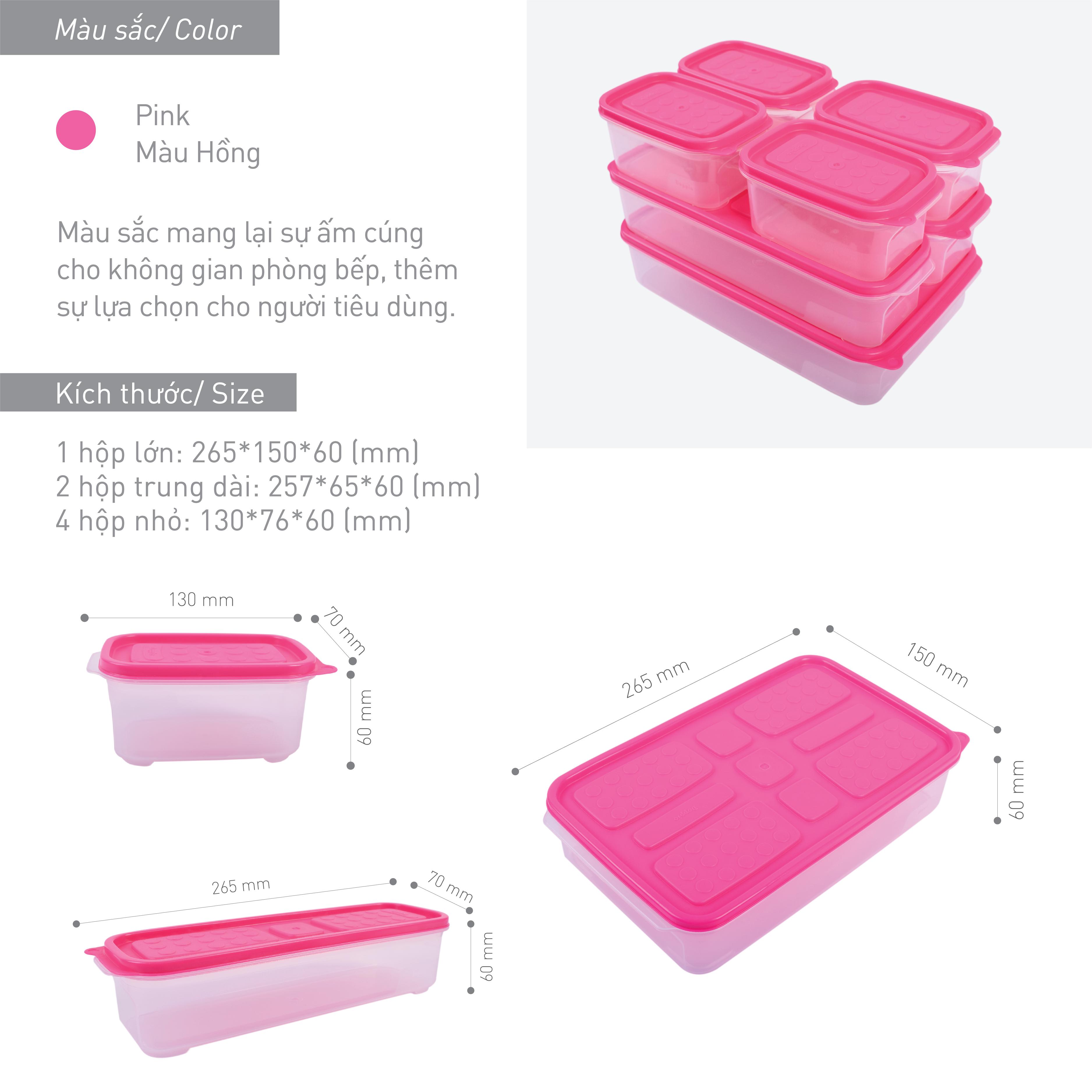 Combo 7 hộp nhựa đựng thực phẩm Hàn Quốc - Set 05 - Màu hồng