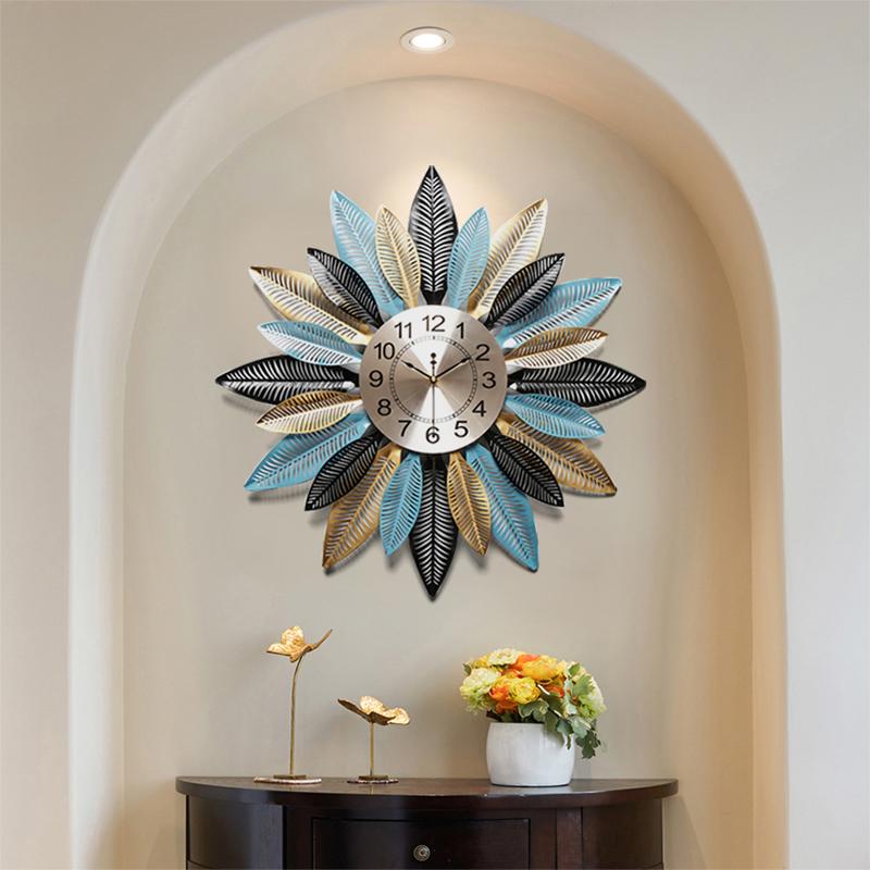 Đồng hồ treo tường hình lá - đồng hồ trang trí sảnh - Đồng hồ phù điêu đẹp cao cấp