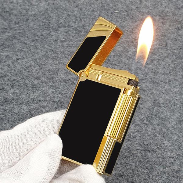 Hộp Quẹt Bật Lửa Gas Đá D96V Thiết Kế Sang Trọng, Tinh Tế Với Họa Tiết Hoa Văn Cách Điệu Sơn Mài Màu Đen Viền Vàng