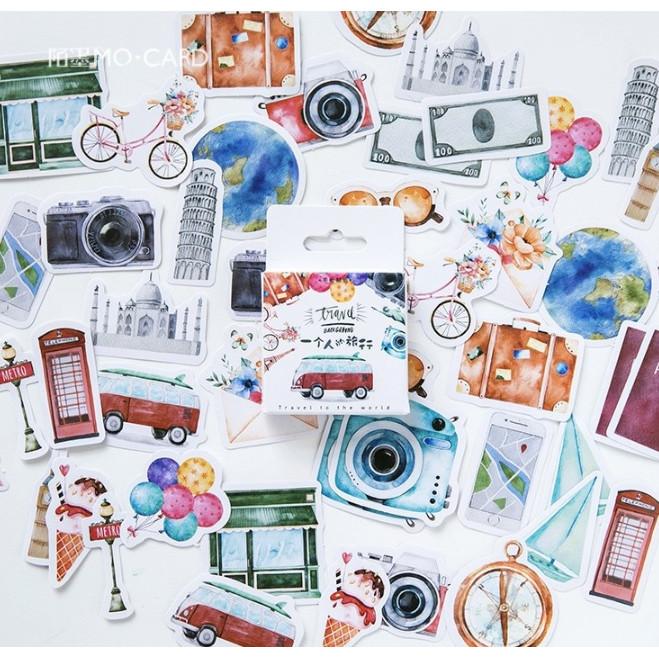 Hộp 46 Miếng Dán Sticker Trang Trí Travel