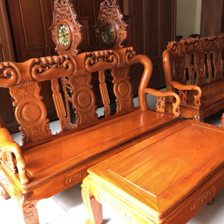Bộ bàn ghế phòng khách gỗ gõ quốc đào ray