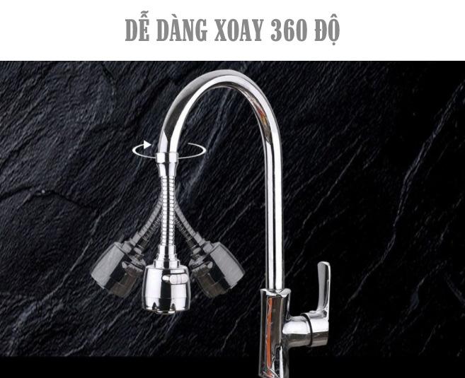 Đầu vòi tăng áp mạ inox- 2 chế độ- điều hướng 360 độ TA02
