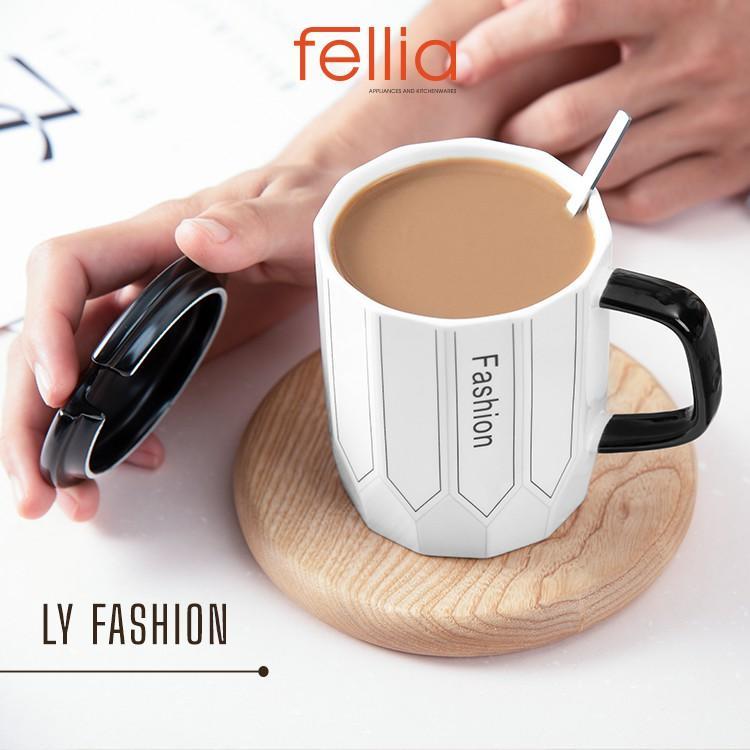Ly sứ Fashion Life của Fellia cao cấp có nắp đậy tặng kèm muỗng phong cách sang trọng tao nhã _844910190
