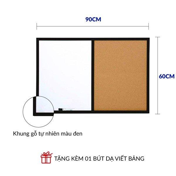 Bảng combo ghim Lie (gỗ bần) - mặt ghi chú trắng khung gỗ - kích thước 60x90cm