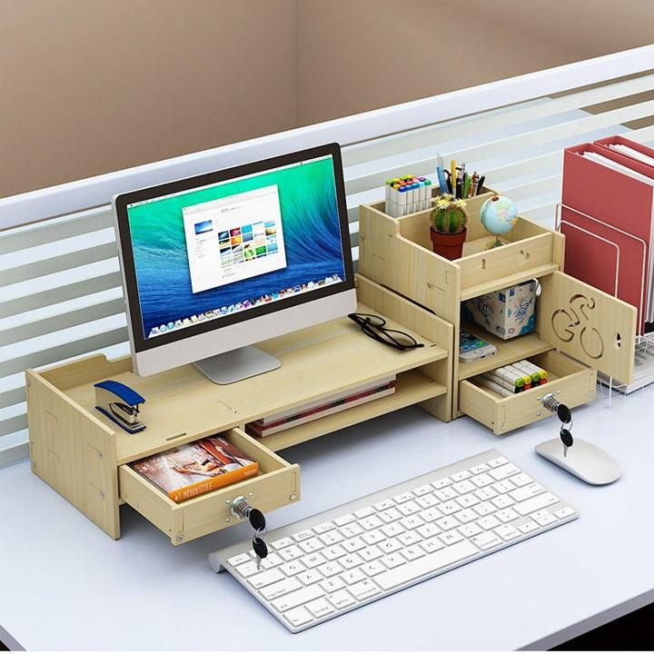 Kệ gỗ để màn hình máy tính có ngăn kéo 2 bên - KEM - 23826039 , 6372723105527 , 62_23909234 , 569000 , Ke-go-de-man-hinh-may-tinh-co-ngan-keo-2-ben-KEM-62_23909234 , tiki.vn , Kệ gỗ để màn hình máy tính có ngăn kéo 2 bên - KEM