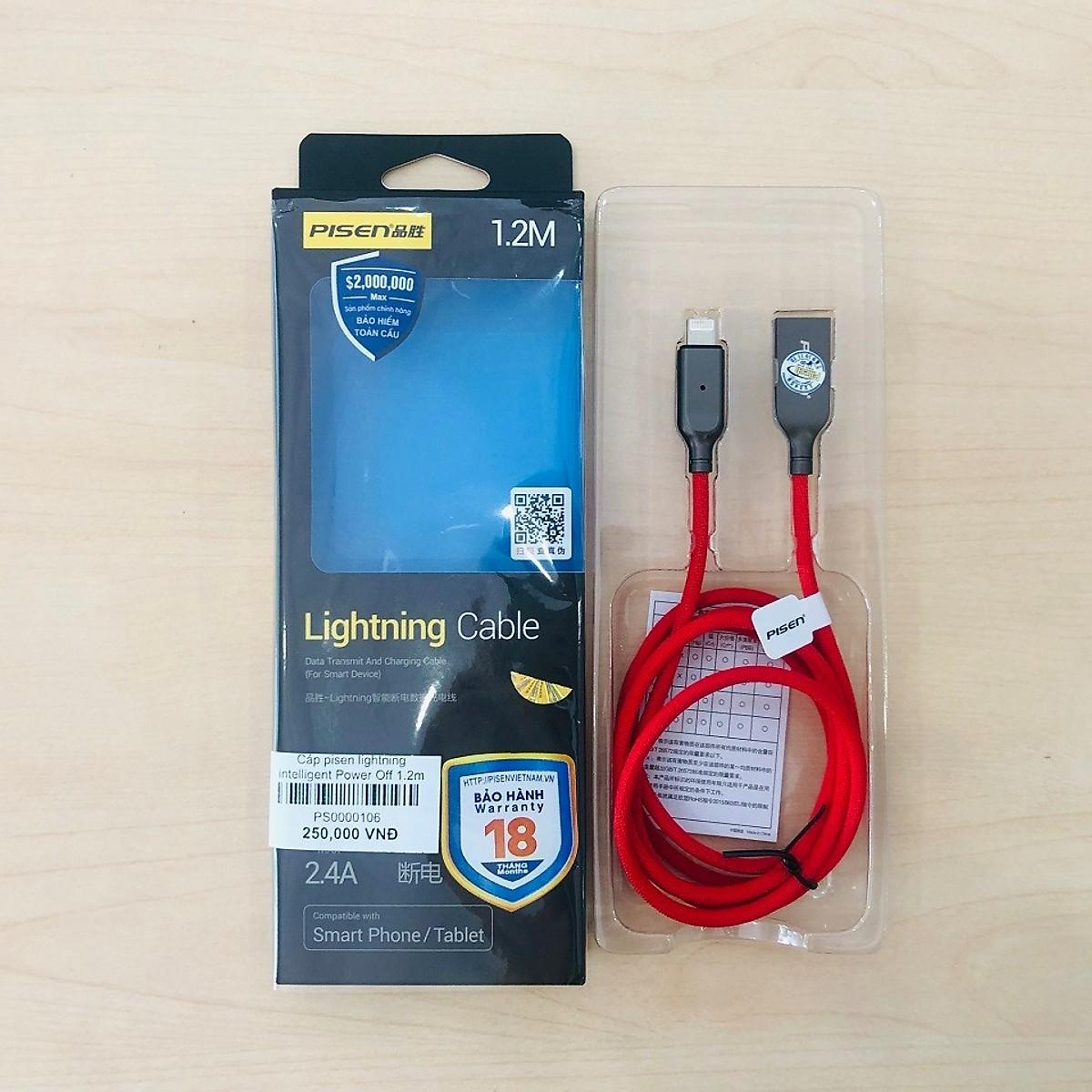 Cáp sạc Iphone/Ipad Tự Ngắt Không sợ Chai Pin Chính Hãng Pisen (2,4A, thông minh, thời trang ) 1,2m
