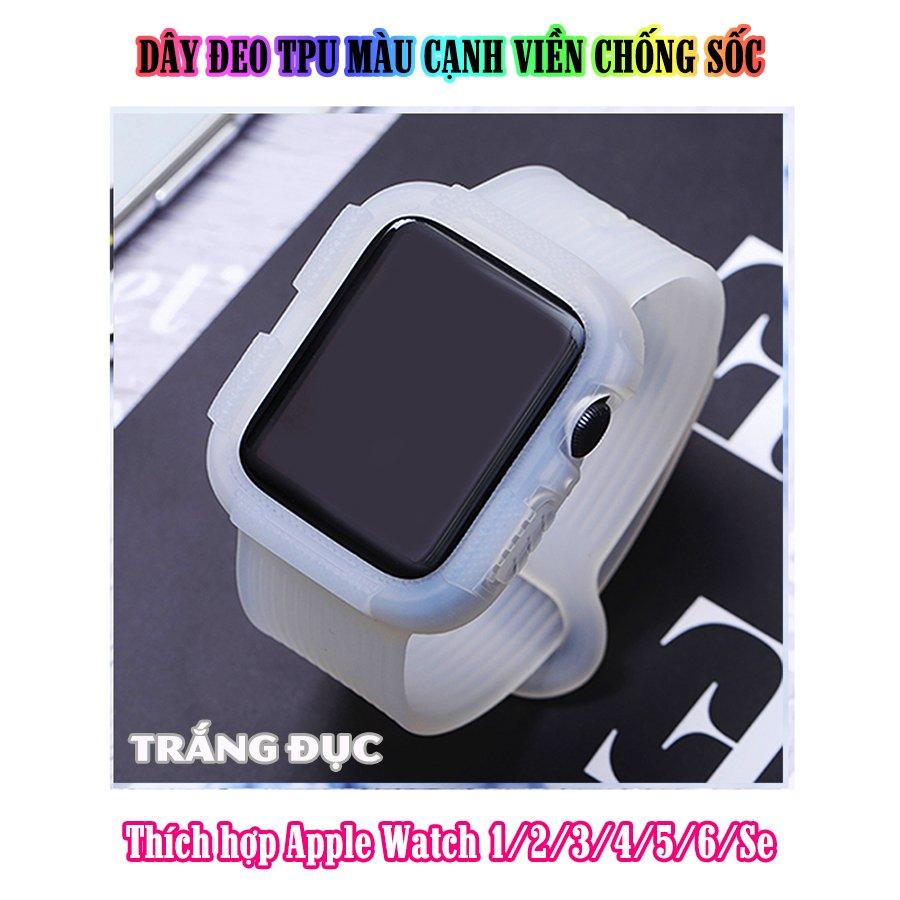 Dây Đeo liền ốp dành cho Apple Watch size 38/40/42/44mm TPU màu cạnh viền chống sốc - Trắng đục (tặng dán KCL theo size)