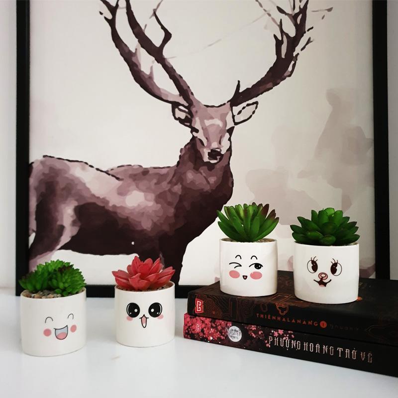 [Kute Nest] Bộ 4 chậu sen đá nhân tạo mini họa tiết hoạt hình đáng yêu