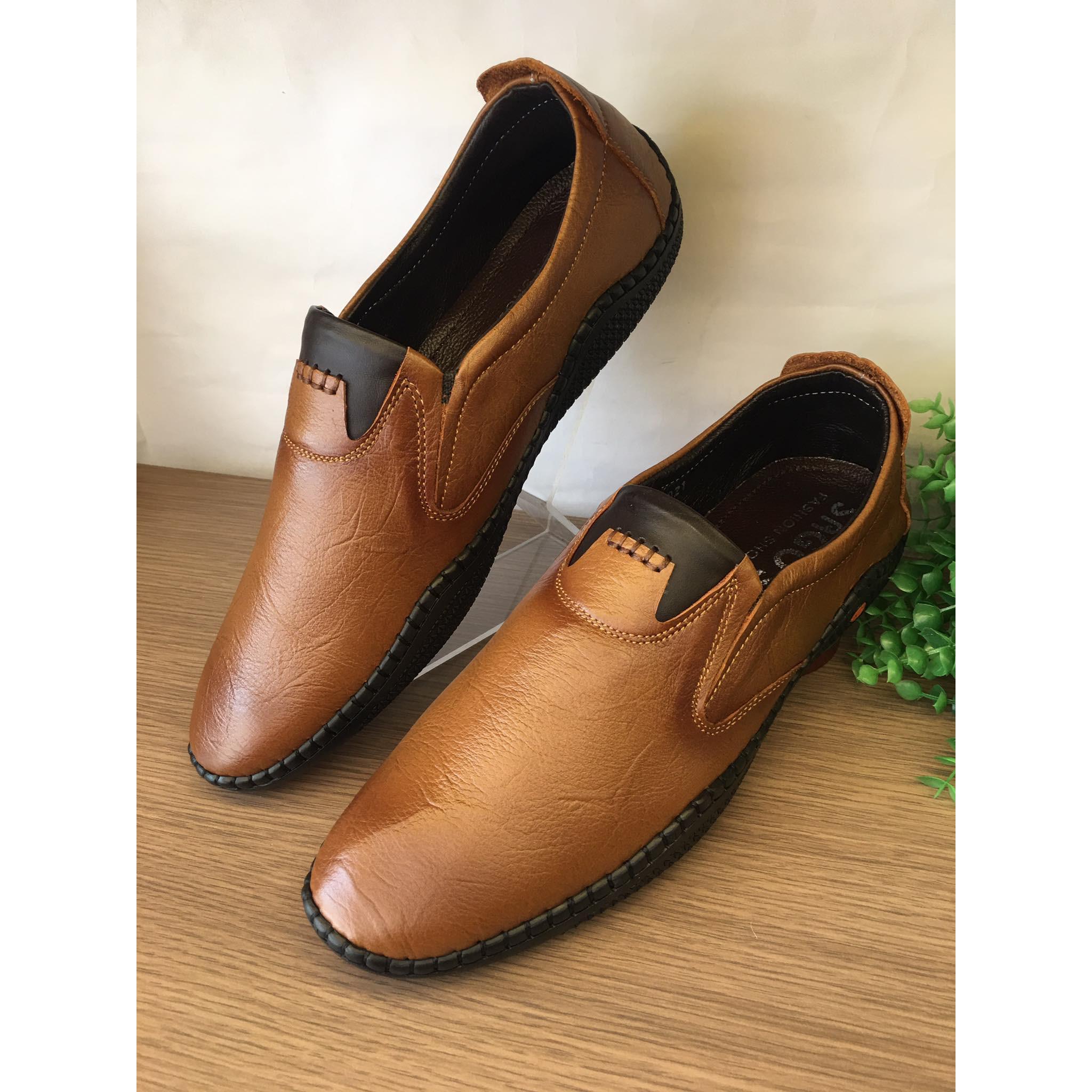 Giày mọi giày lười da bò mềm màu nâu-M180