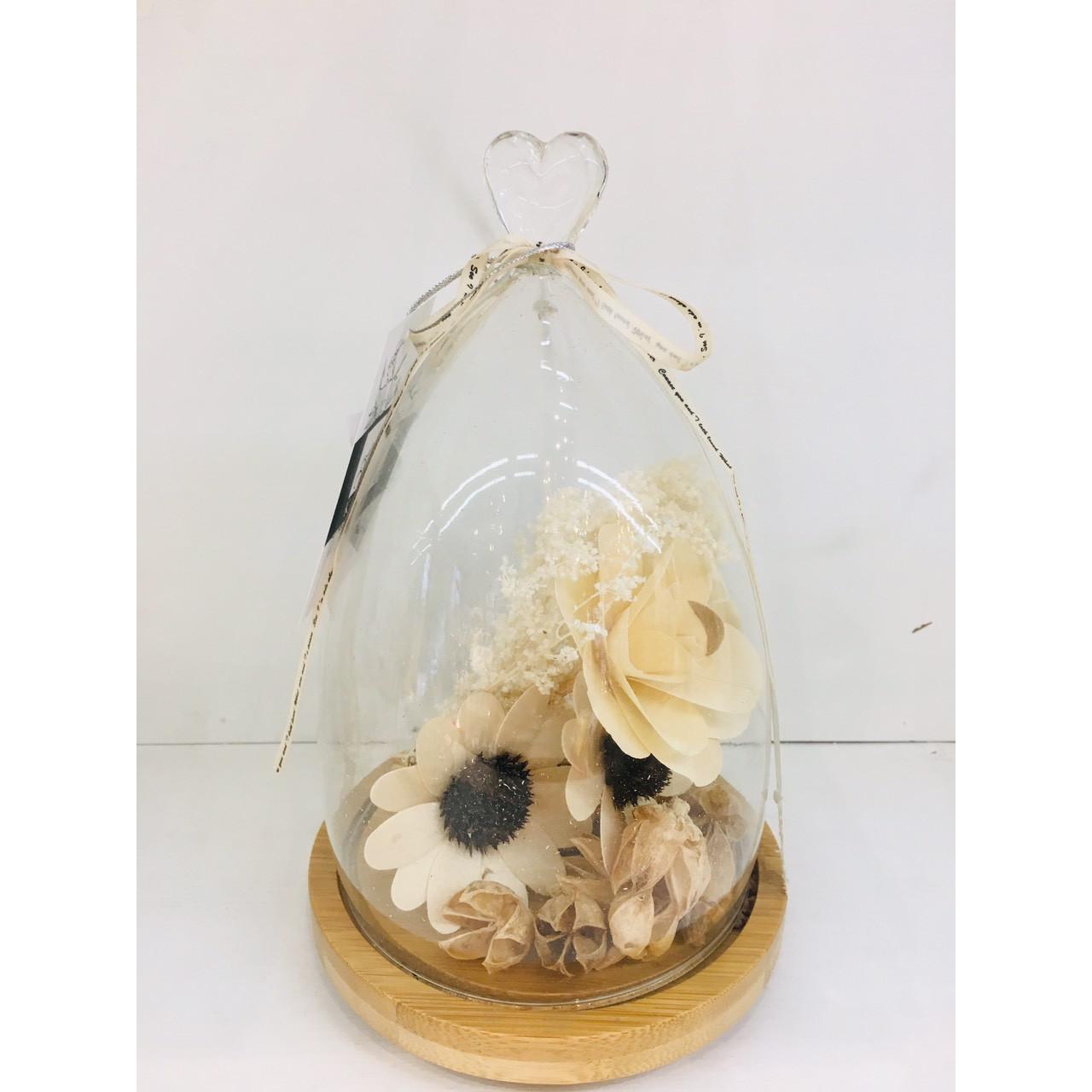 Bình hoa khô trái tim FLOWERS  22.5cm 6144L