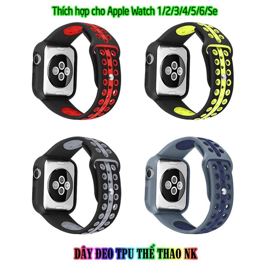 Dây Đeo liền ốp dành cho Apple Watch size 38/40/42/44mm TPU thể thao viền màu  - Xám xanh (tặng dán KCL theo size)