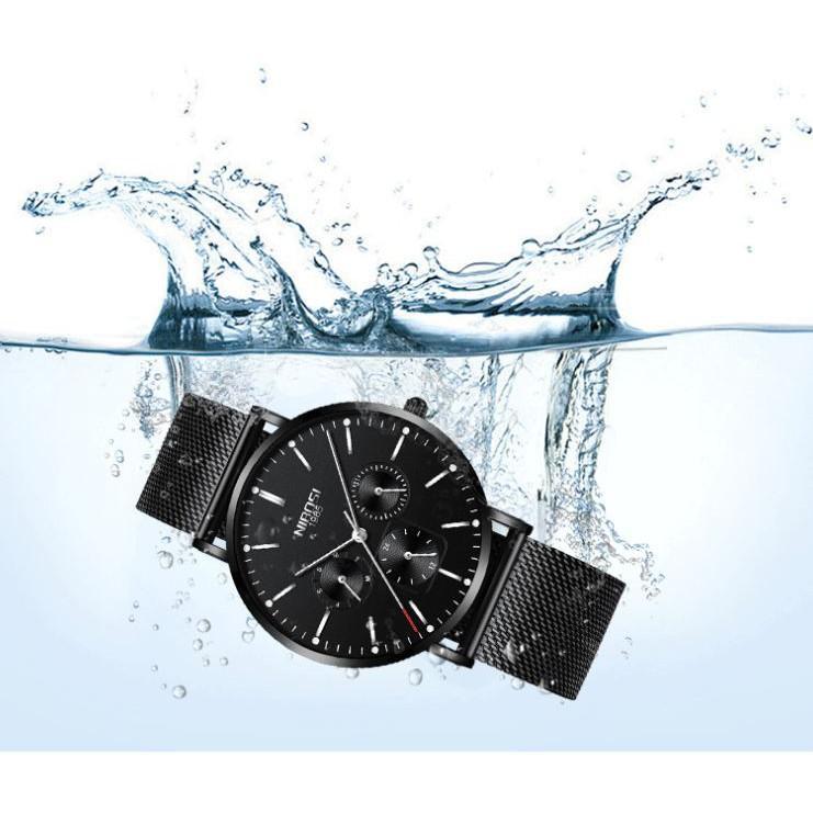 Đồng hồ thời rang công sở nam NIBOSI chính hãng NI2321-1.05 fullbox, chống nước - Chạy full 6 kim, mặt kính Mineral, dây thép lưới cao cấp không gỉ