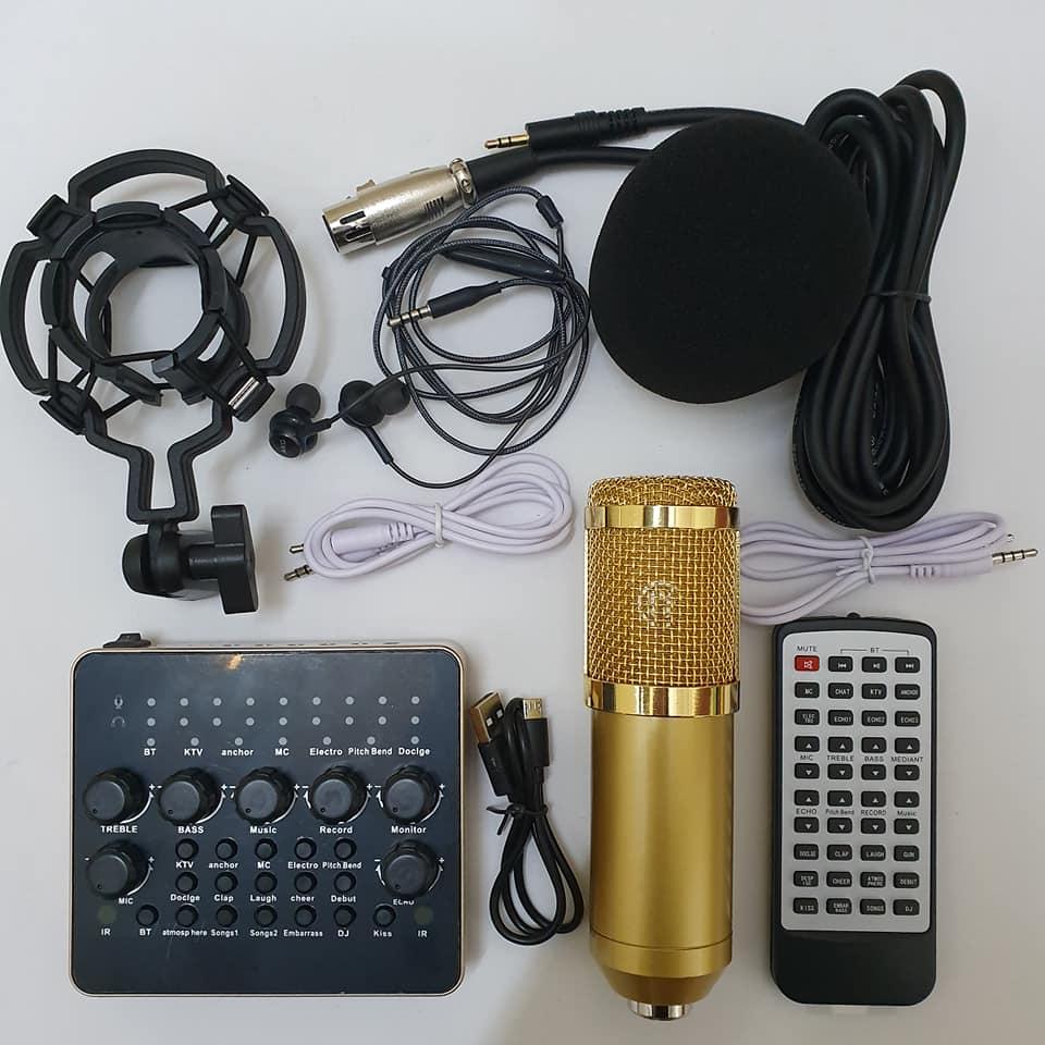 combo Bộ Míc Thu Âm Livestream Hát Karaoke Online Micro BM-900+ CARD V10 Bluetooth Tặng Tai nhét tai