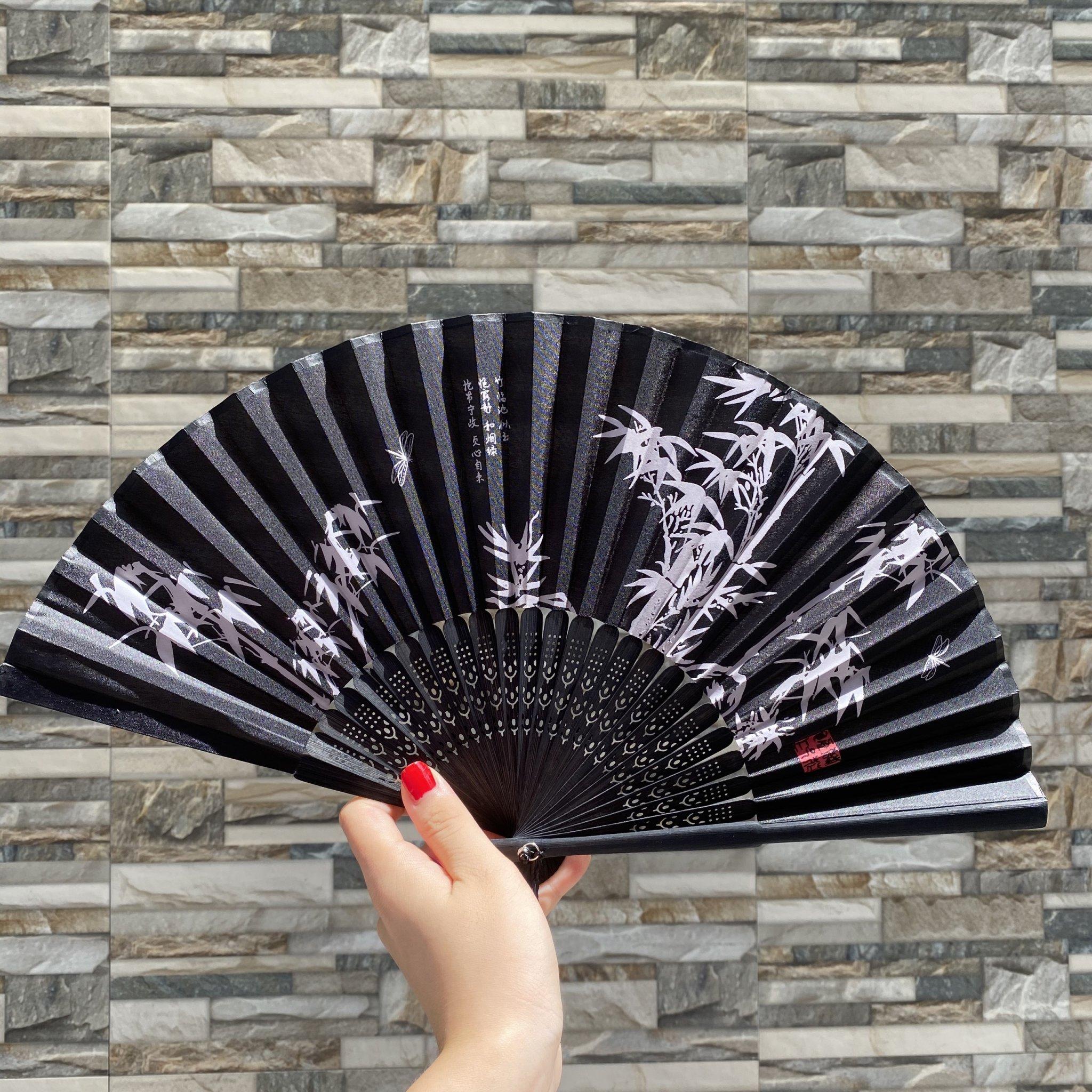 Quạt cổ trang dây tuyến TRÚC THƯ PHÁP ĐEN lụa xếp cầm tay phong cách Trung Quốc quà tặng xinh xắn